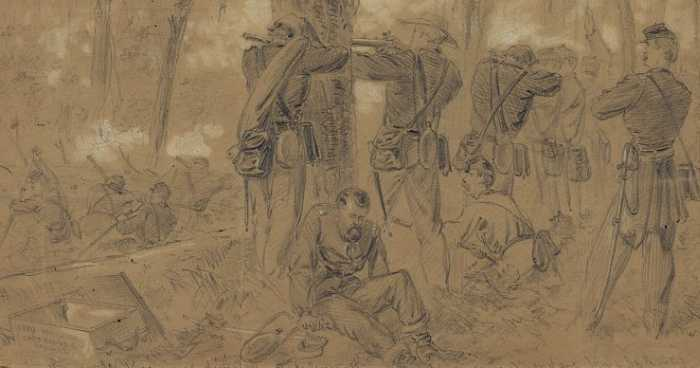 Glendale- Alfred Waud made this sketch of Kearny s sector of the confused and deadly battlefield