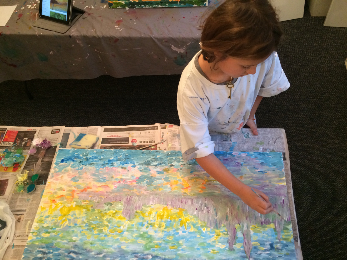 O working on her Monet