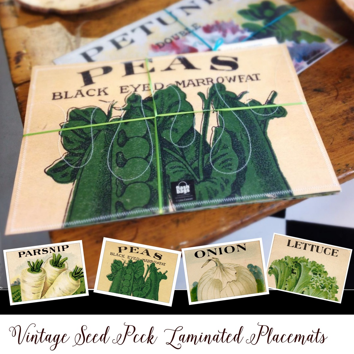vintage seed pack laminated placemats for online store square