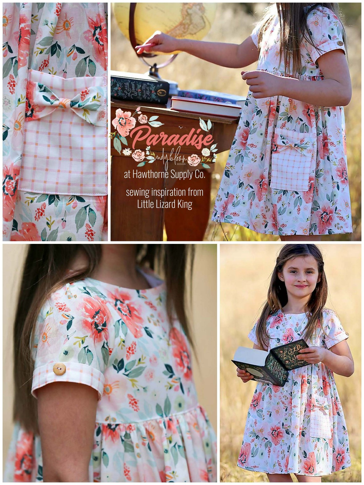 Paradise Fabric from Indy Bloom at Hawthorne Supply Co LLK Melbourne Dress by Natasha Chrismas