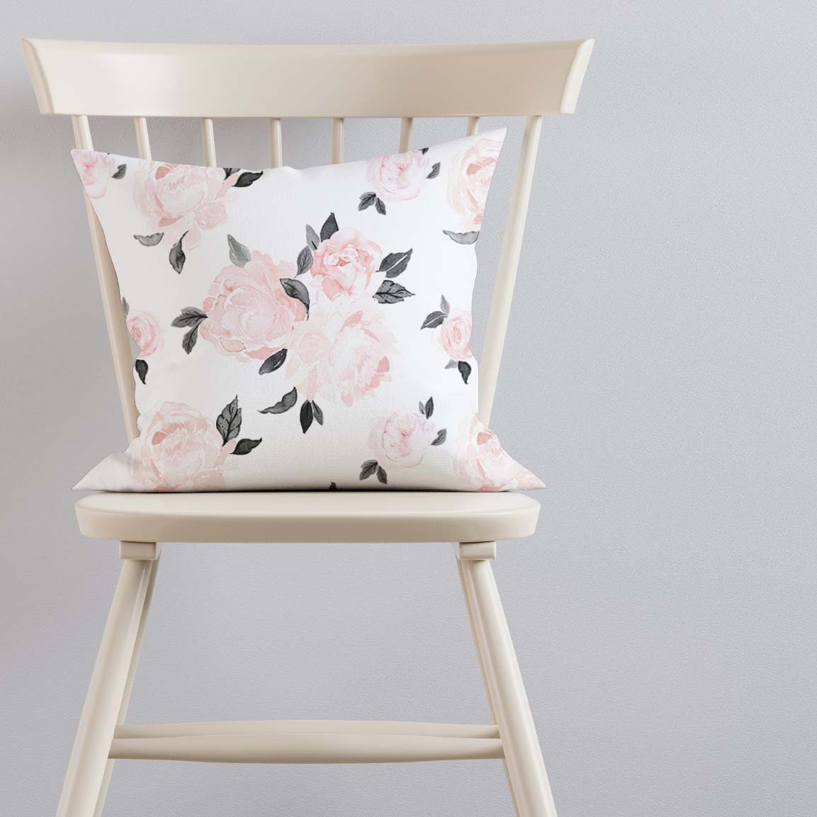 Pillow on Ivory Chair Large Blush Floral