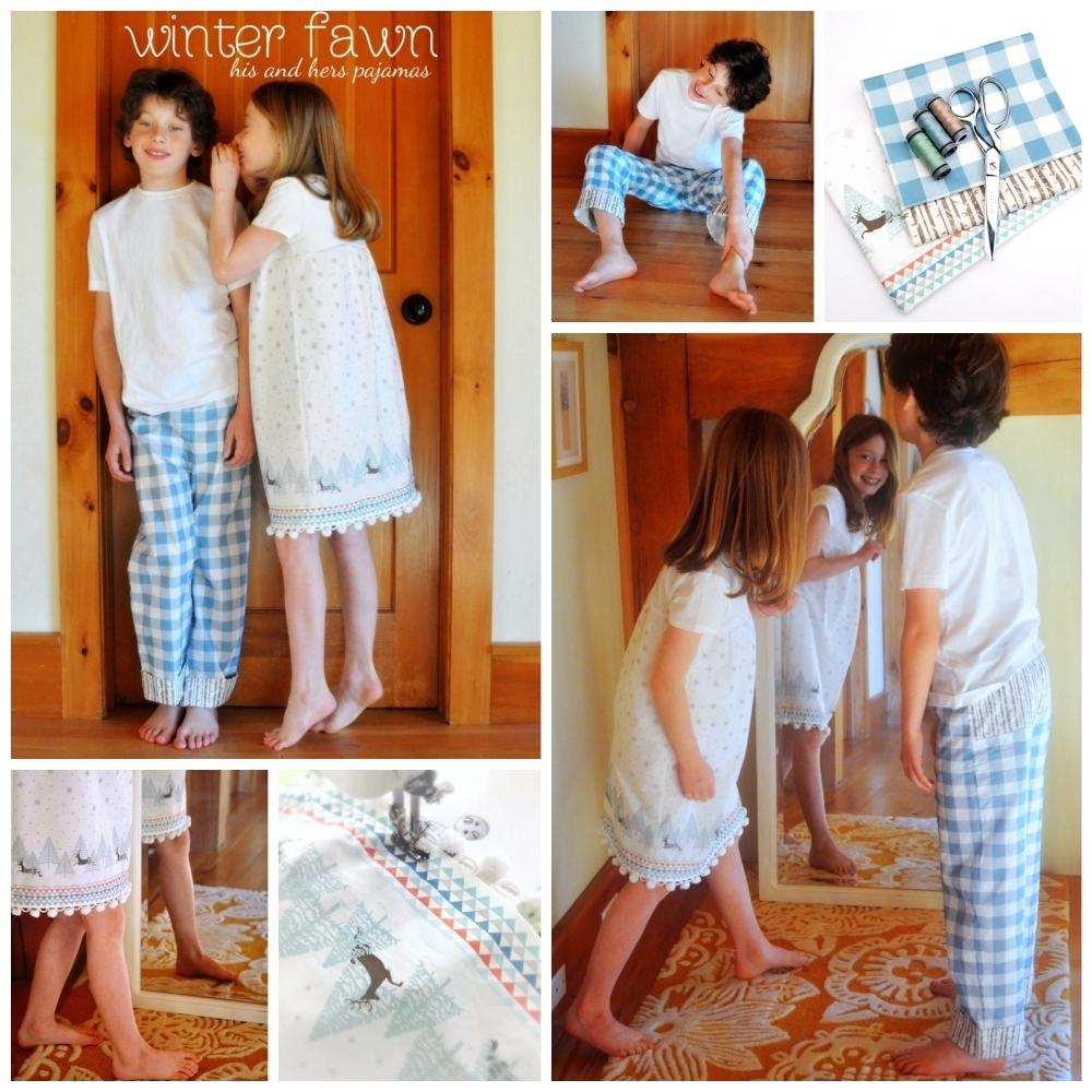 Winter Fawn Pajamas Collage