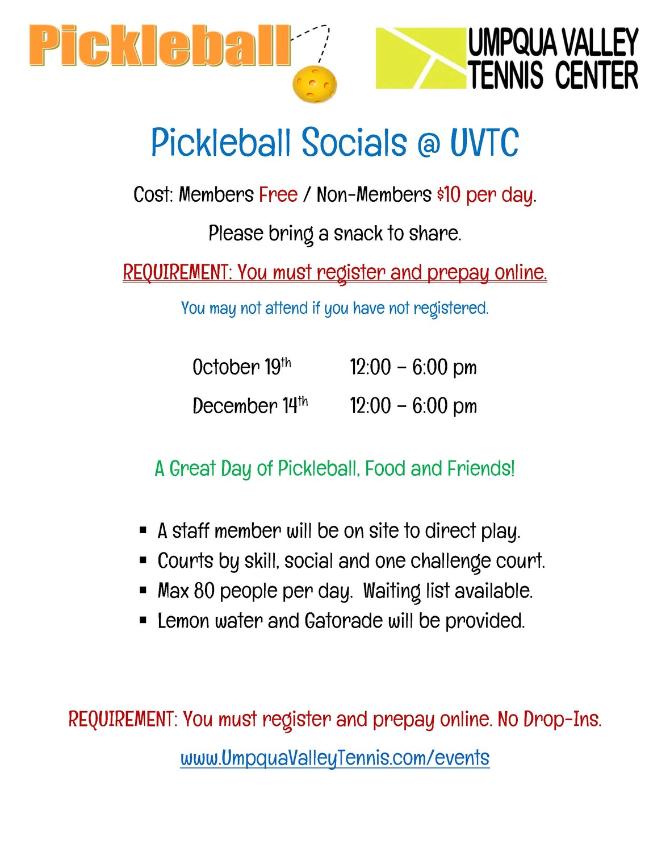 Pickleball Saturdays at UVTC - Oct Dec