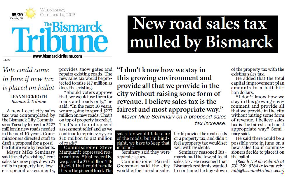 Bismarck Road Sales Tax Article