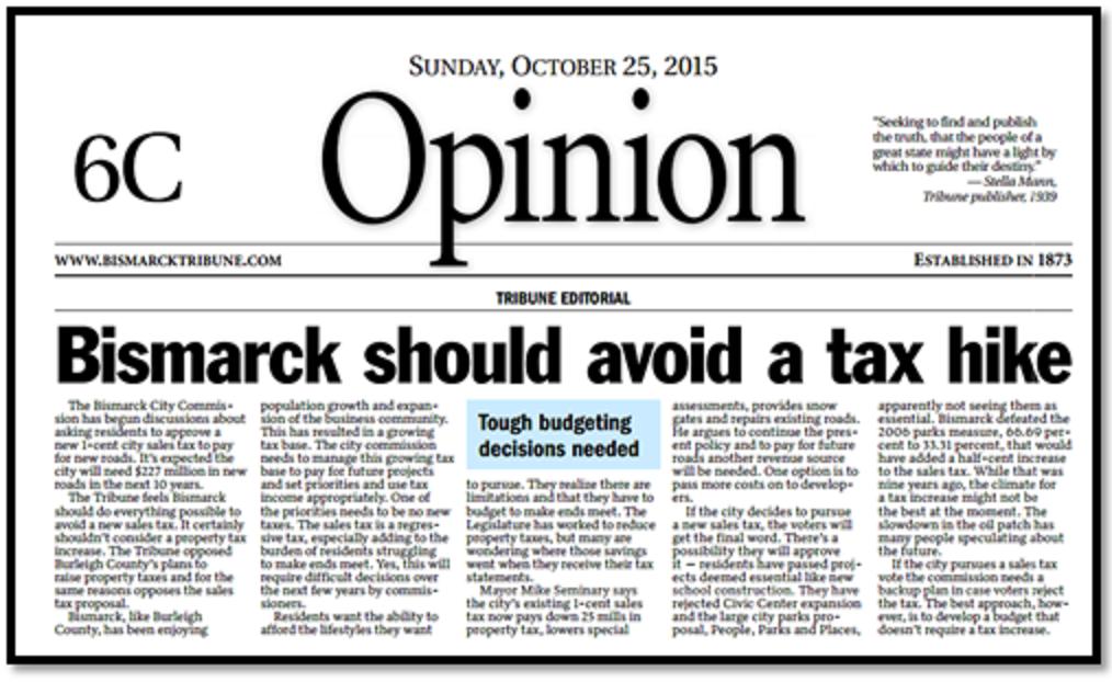 Bismarck Sales Tax Opinion
