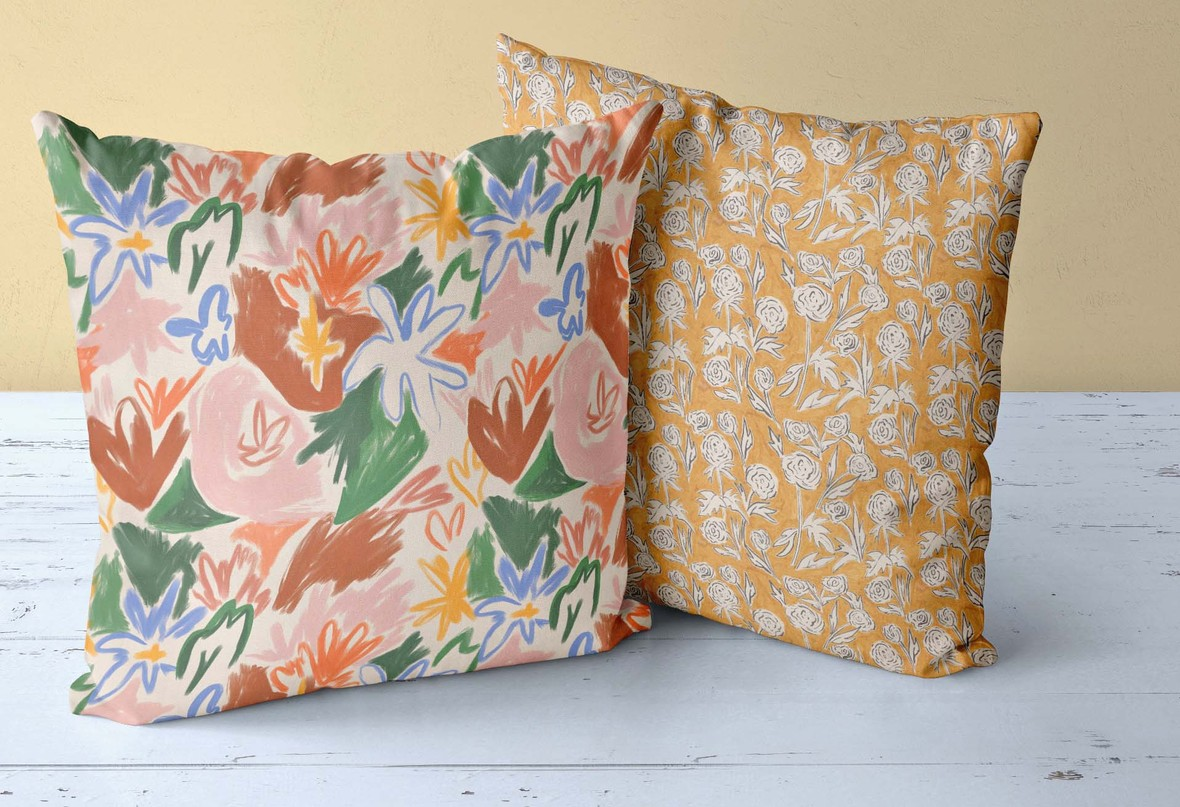Two Pillows Jardin and Ochre Siena