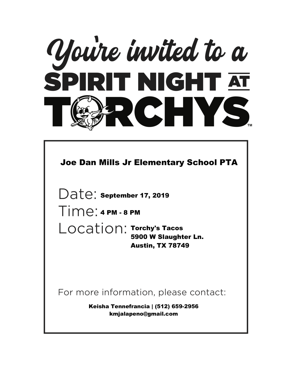 Mills Spirit Night Flyer 9.17.19