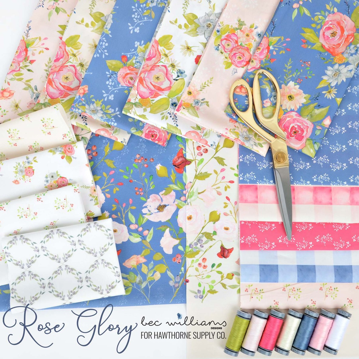 Rose Glory Fabric Poster Bec Williams for Hawthorne Supply Co