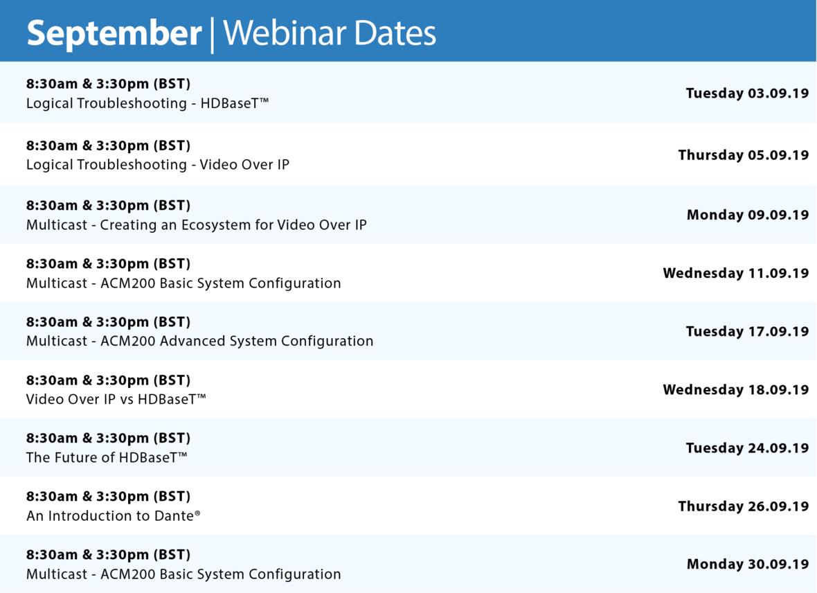 SEP Webinar Dates
