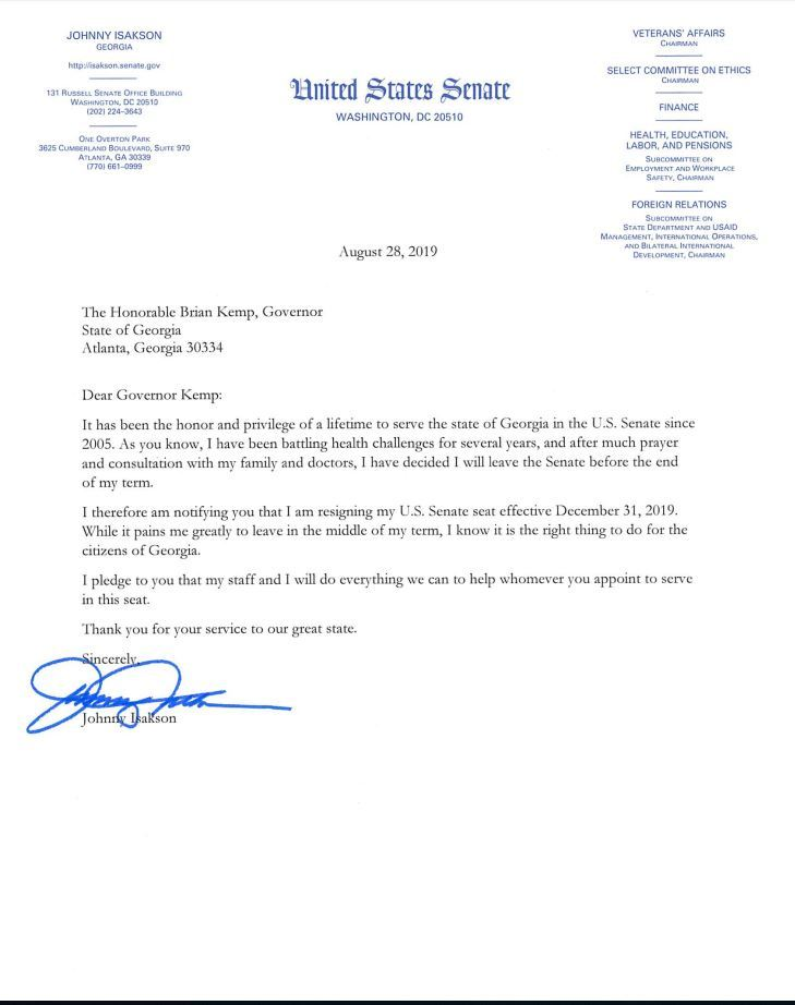 Isakson Resignation