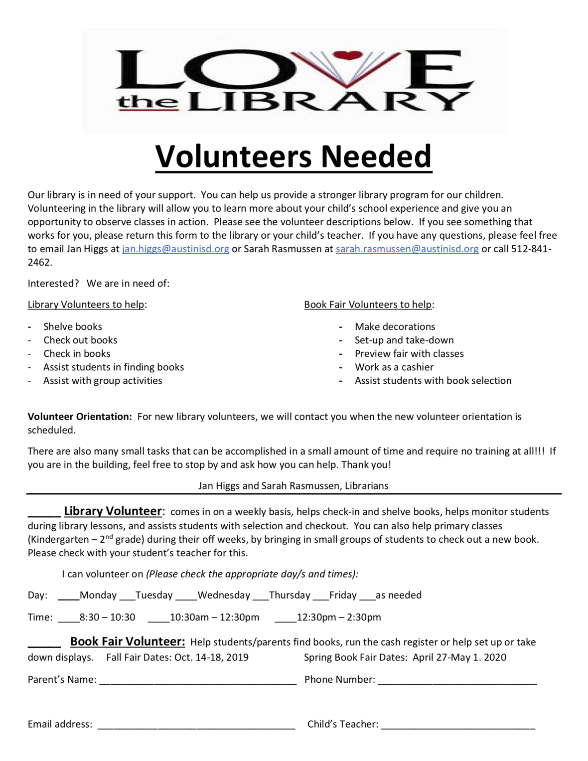 Library Volunteer sign-up 2019-2020