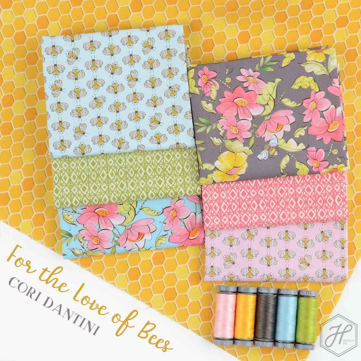 For the Love of Bees Fabric Cori Dantini at Hawthorne Supply Co