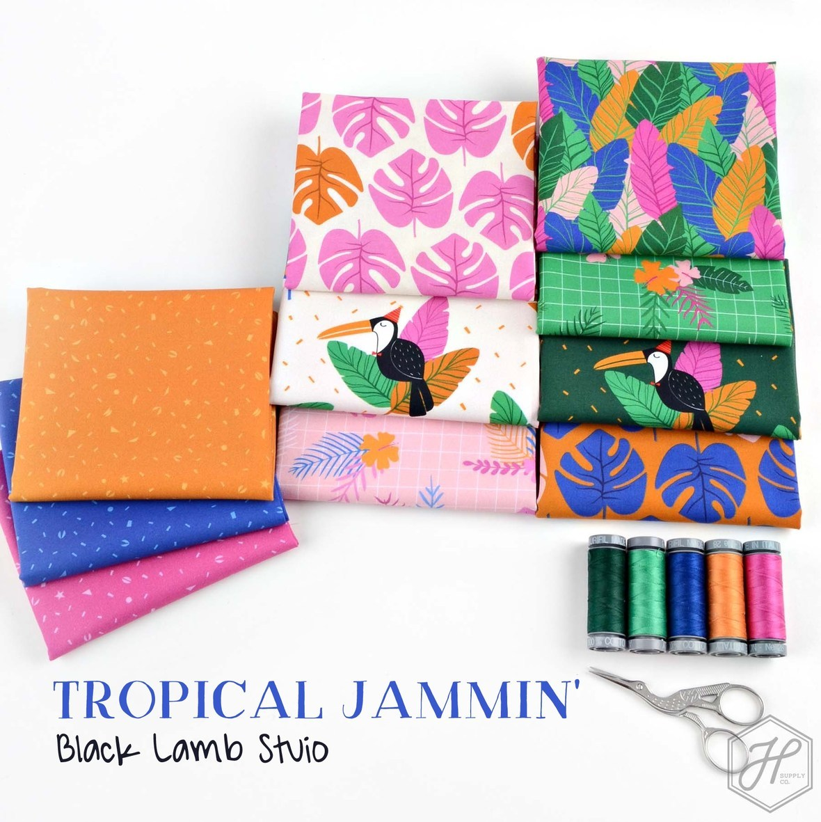 Tropical Jammin Black Lamb Studio Figo Fabric at Hawthorne Supply Co