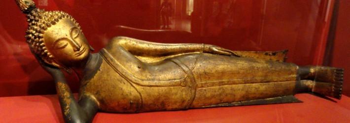 Reclining Buddha Thailand 17th century AD gilt bronze - San Diego Museum of Art - DSC06413-710x250