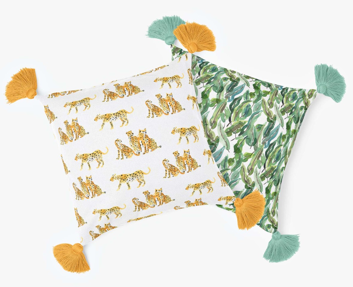 Large Spotted Cat and Tropical Leaves Pillows