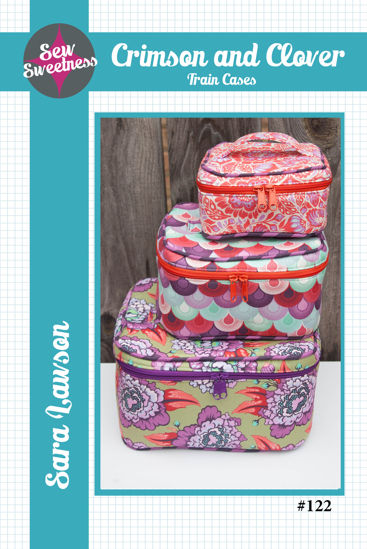 sew sweetness  crimson and clover train cases sewing pattern