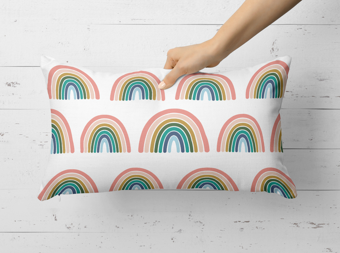 Rectangle Pillow Rainbow Oh Deer