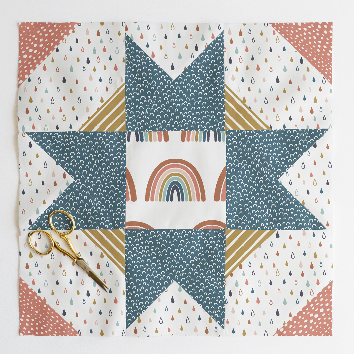 compass star quilt block Harvest