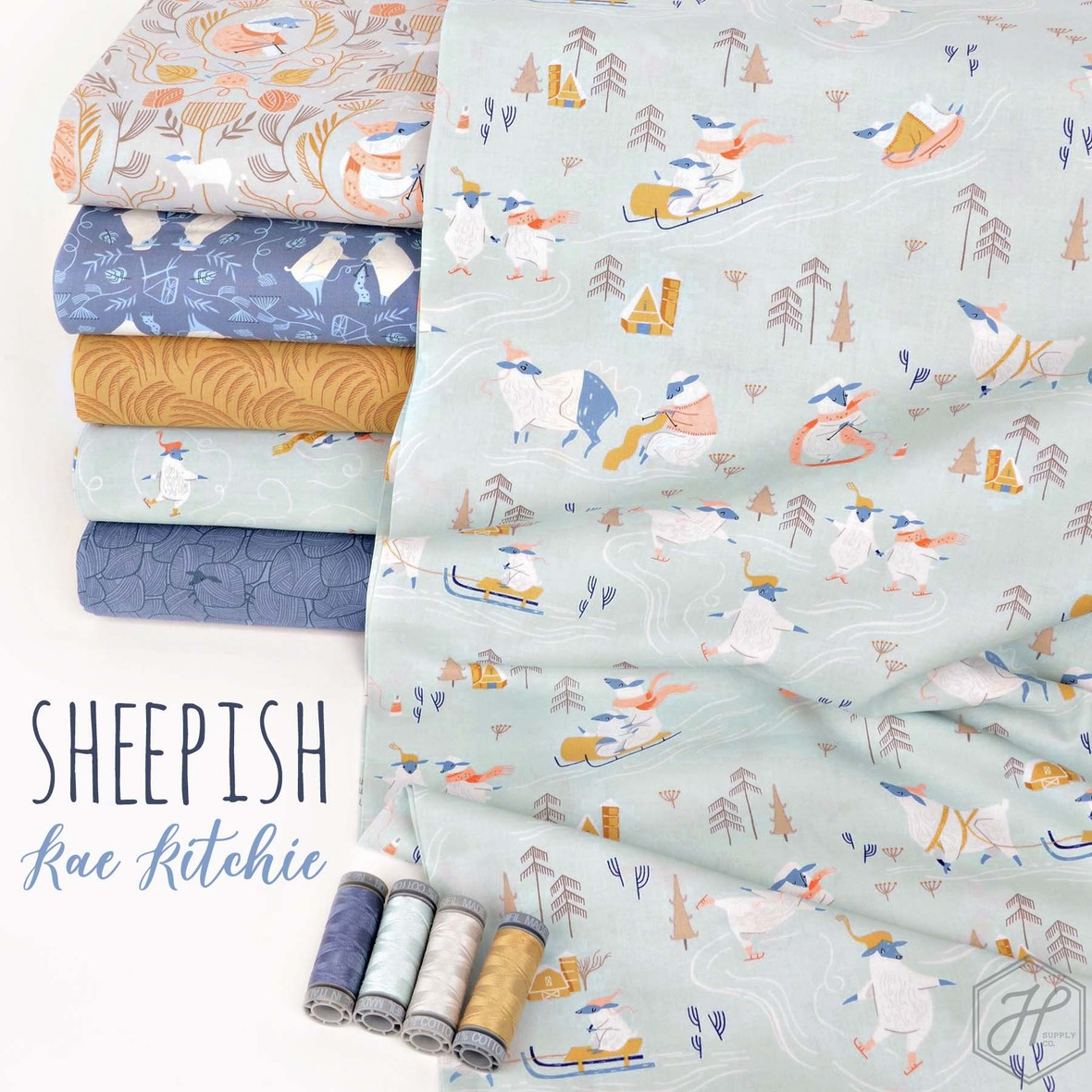 Sheepish Fabric Poster Rae Ritchie at Hawthorne Supply Co