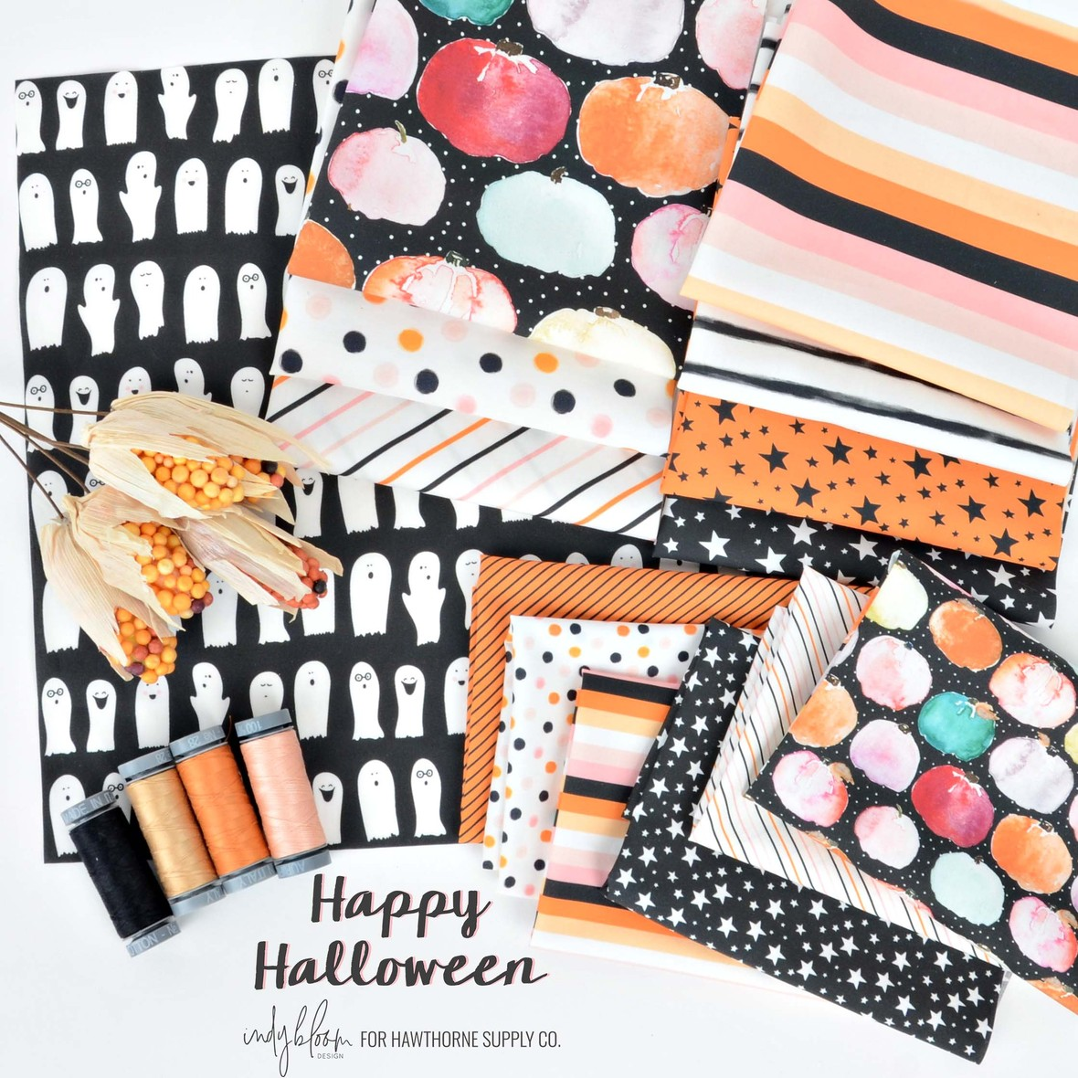 Happy Halloween Fabric from Indy Bloom at Hawthorne Supply Co