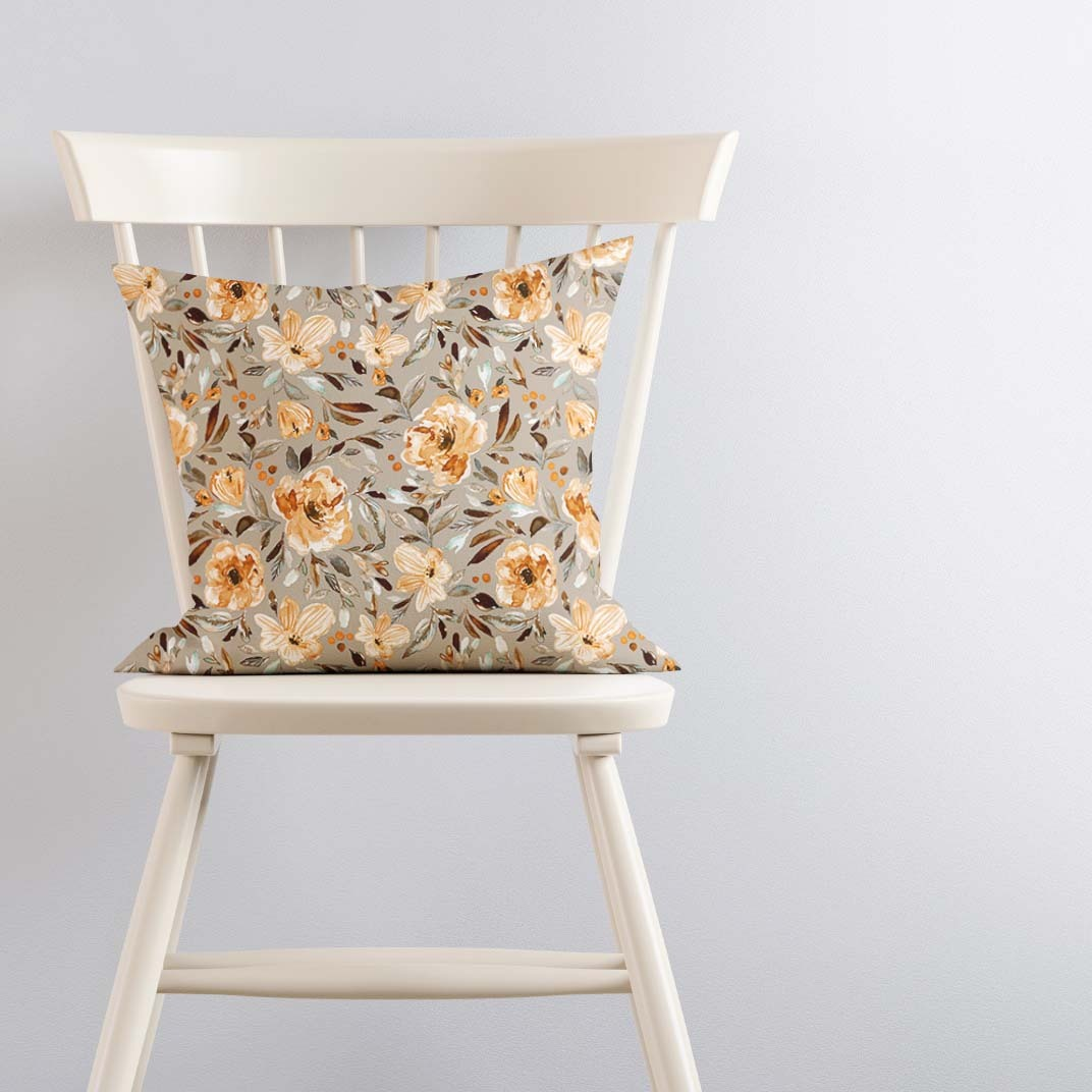 Pillow on Ivory Chair Sweet Pea Garden Taupe