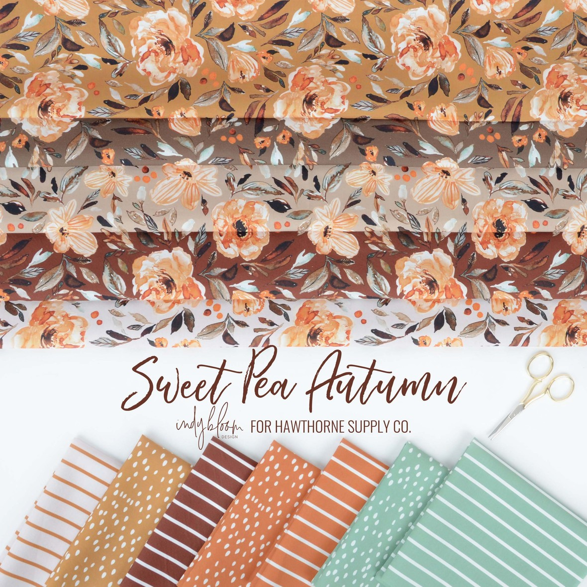 Sweet Pea Autumn Fabric from Indy Bloom at Hawthorne Supply Co
