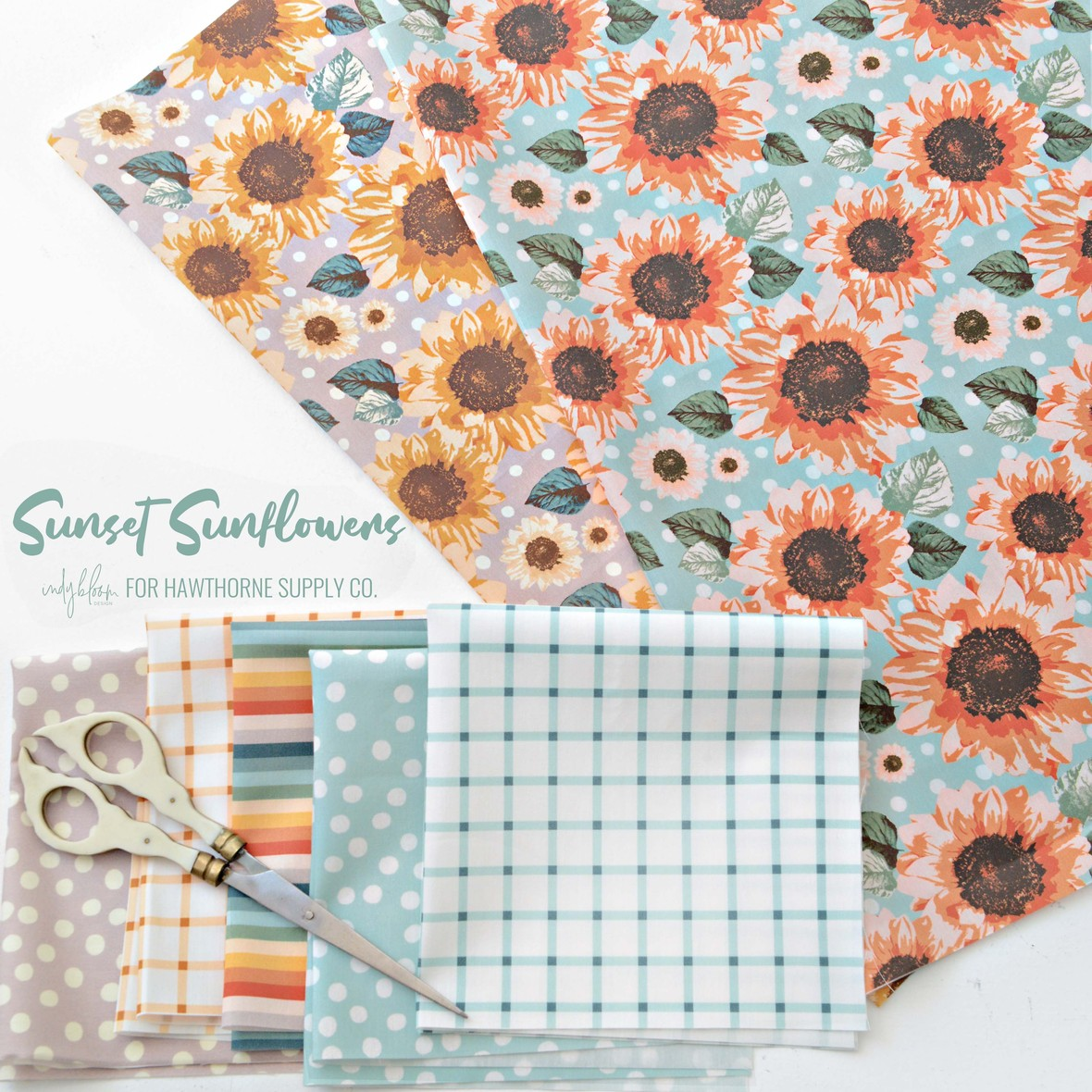 Sunset Sunflowers fabric from Indy Bloom for Hawthorne Supply Co. b