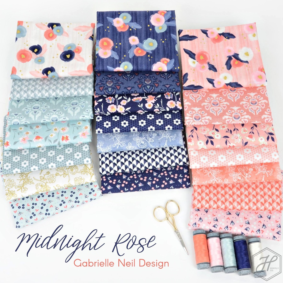 Midnight Rose Fabric Gabrielle Neil Design for Riley Blake at Hawthorne Supply Co