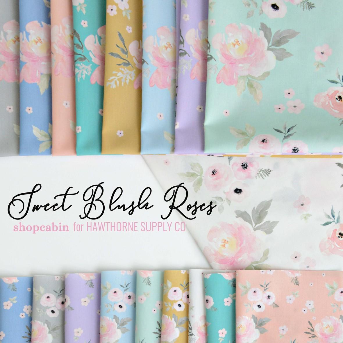 Sweet Blush Roses Fabric Poster