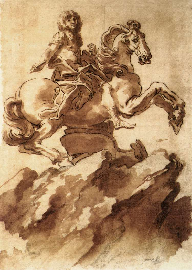 Gianlorenzo Bernini - Study for an Equestrian Statue of Loius XIV - WGA02055
