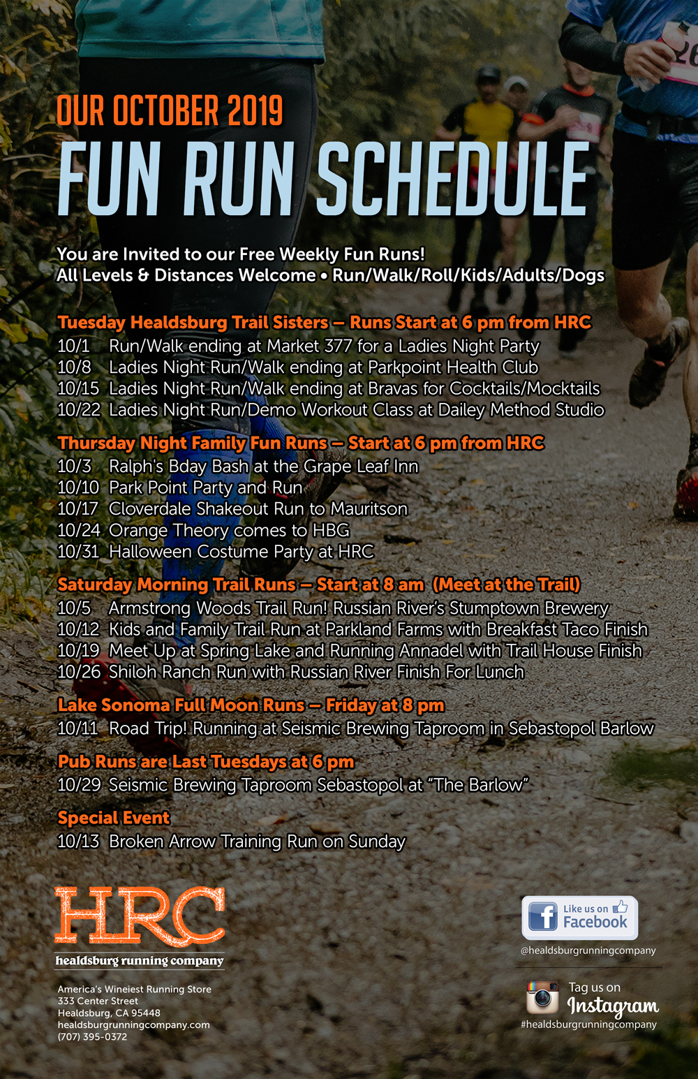 oct 2019 run schedule