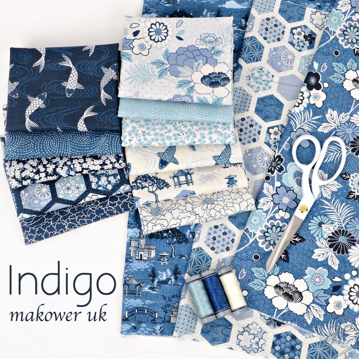 Indigo Fabric Poster Makower UK at Hawthorne Supply Co