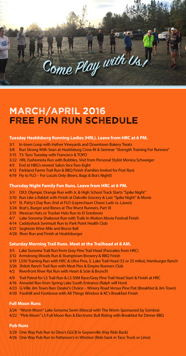 march-april run schedule