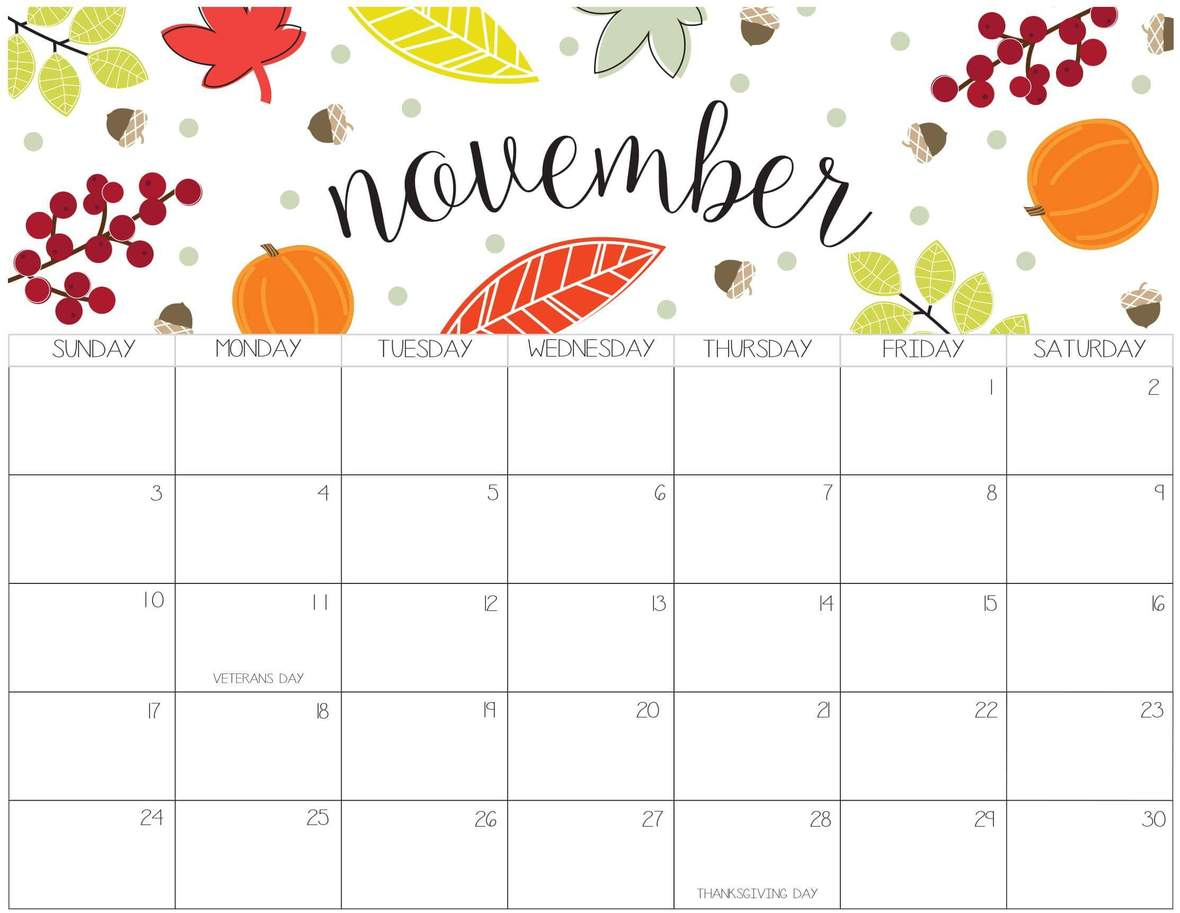 Printable-November-2019-Calendar-Cute