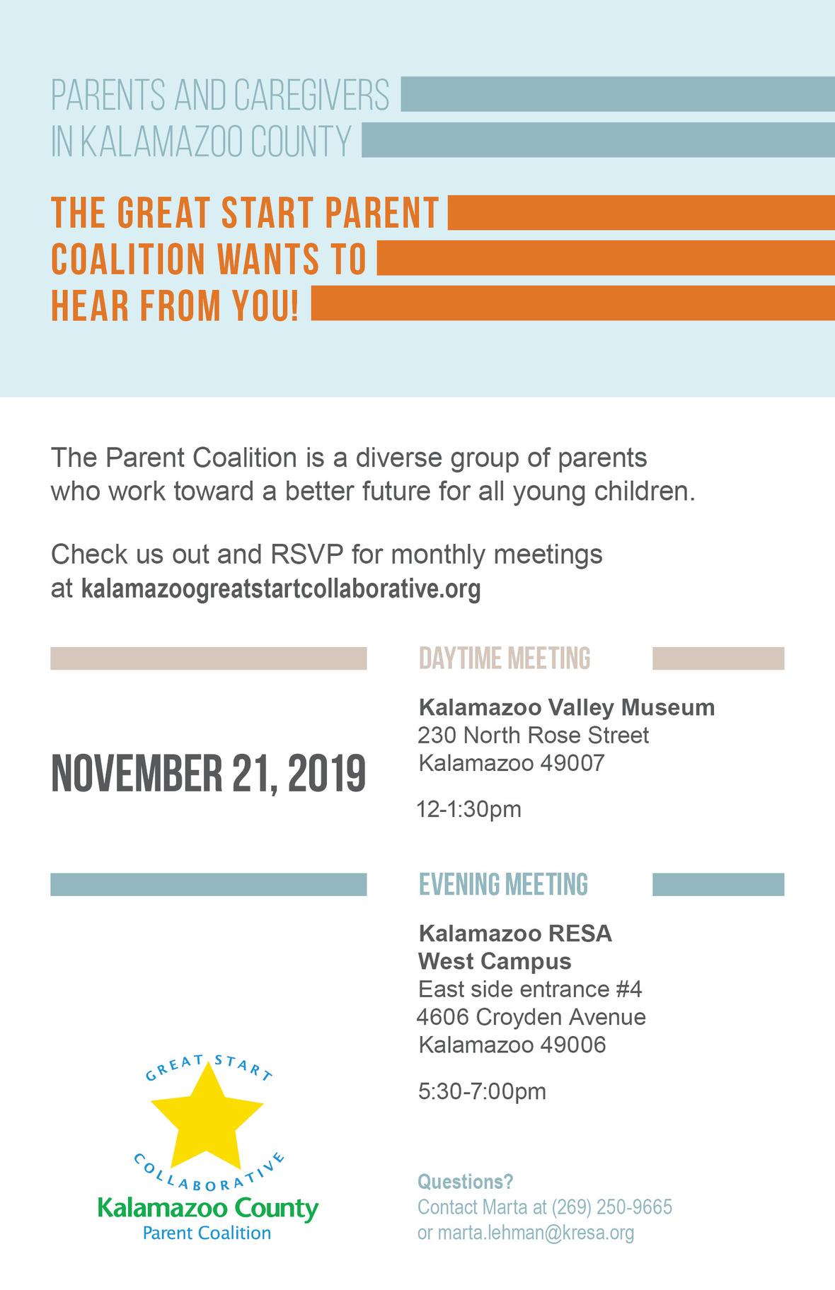 GSC Parent Coalition Mtgs Half Sheet 2019 Nov
