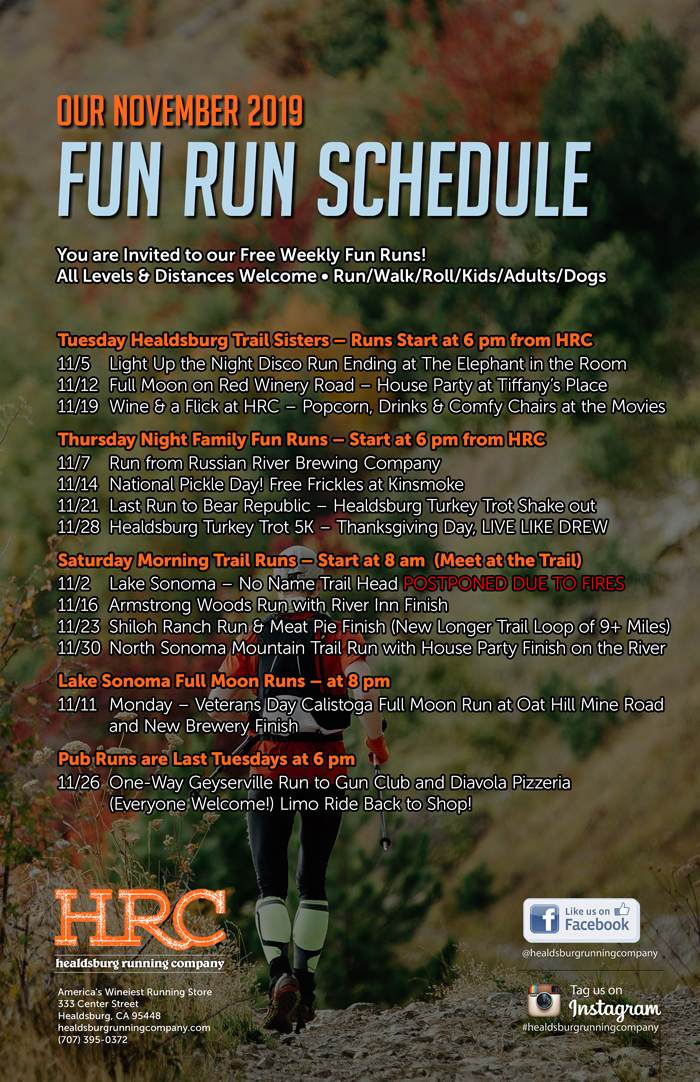 nov 2019 run schedule