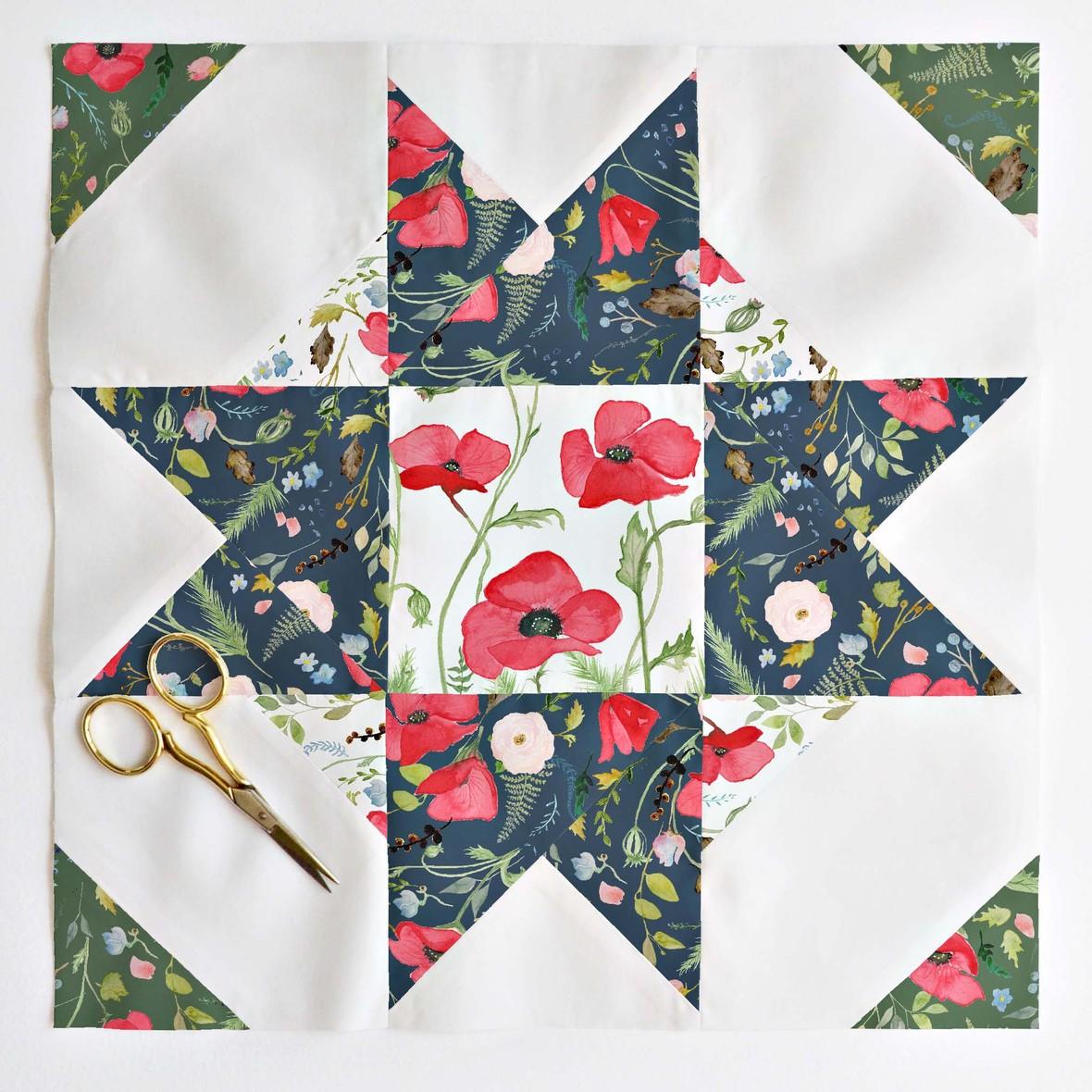 compass star quilt block