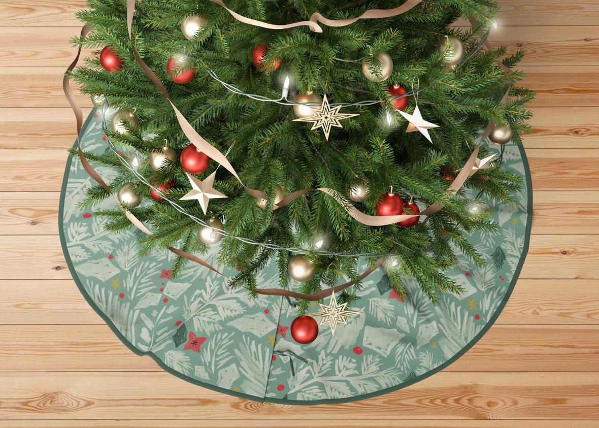 tree skirt large christmas botanical mint