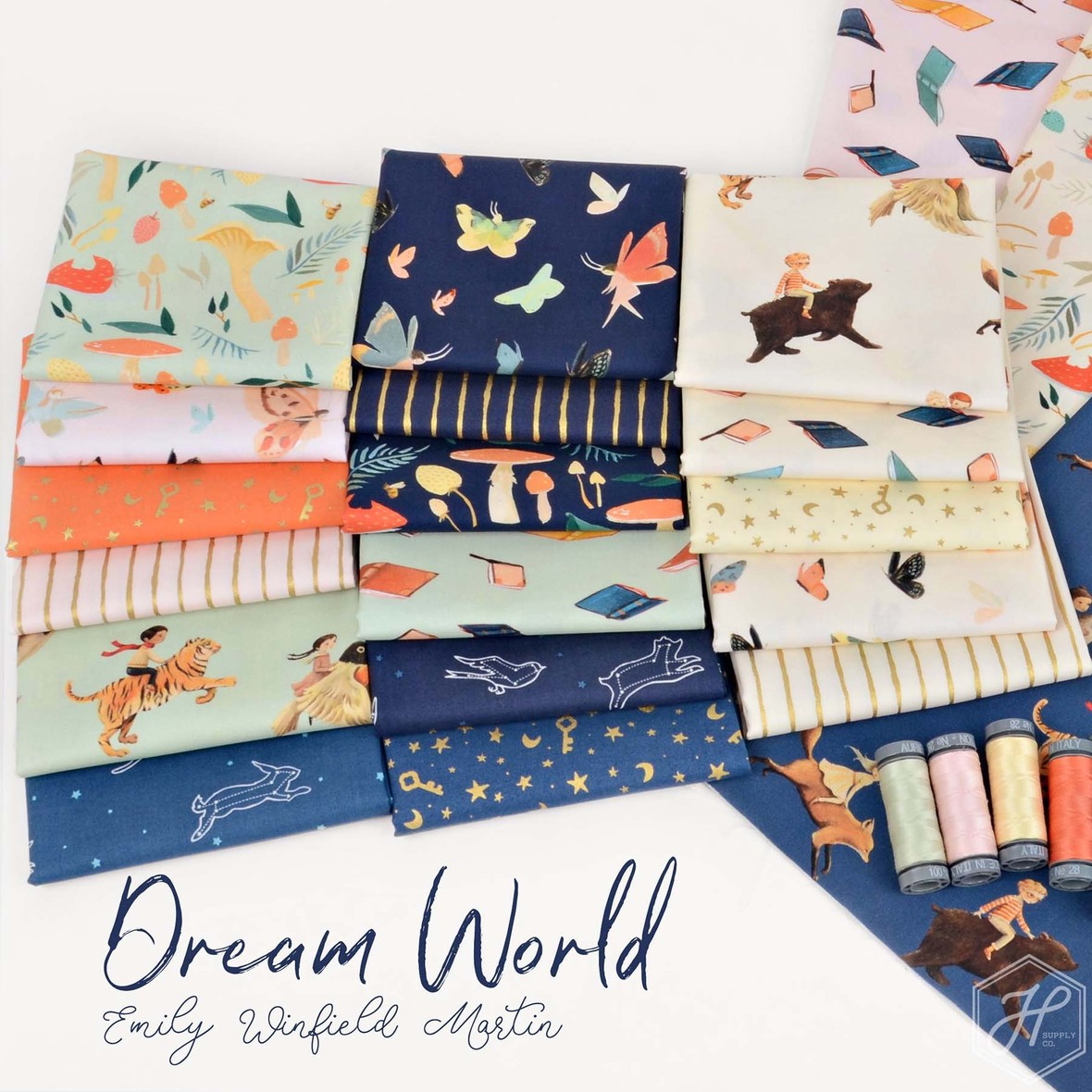 Dream World Fabric Poster Emily Winfield Martin fror Riley Blake at Hawthorne Supply Cojpg
