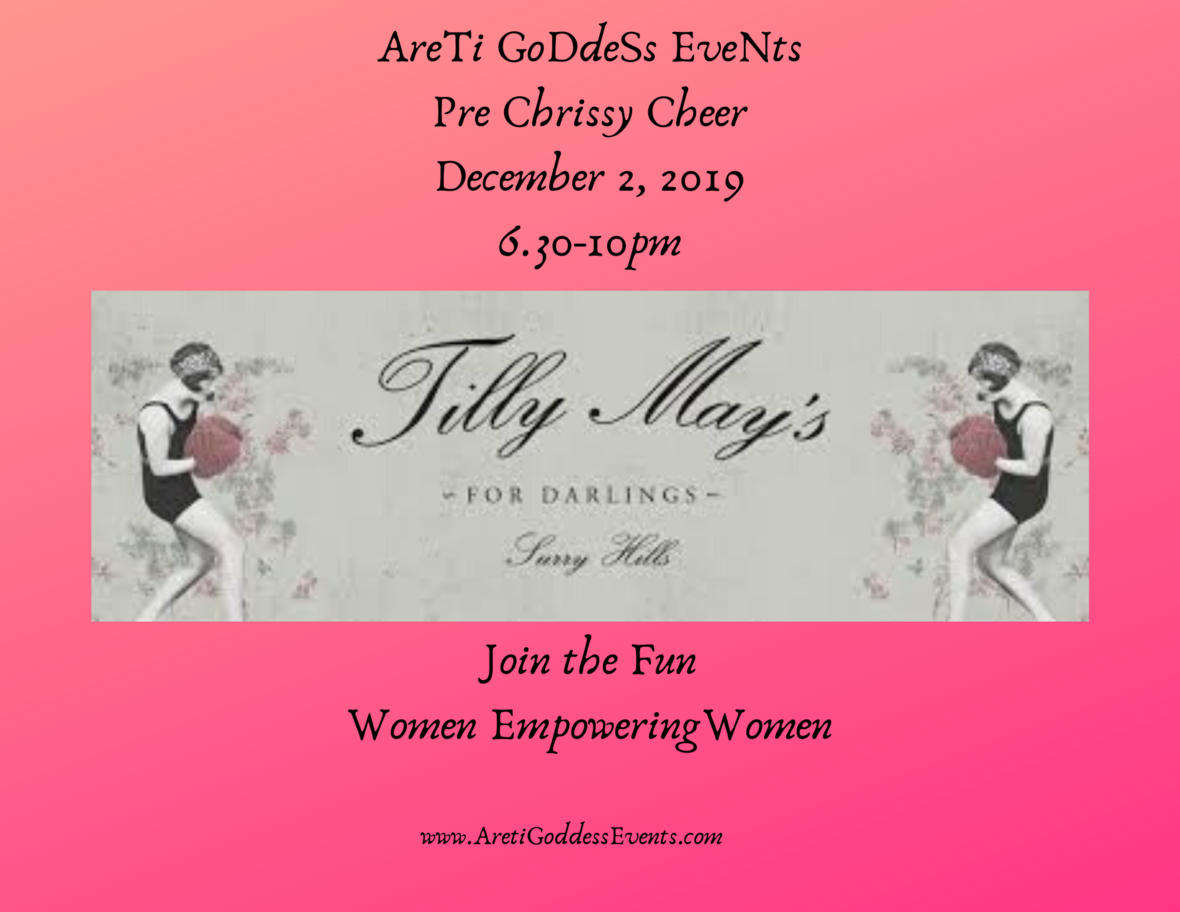 AreTi GoDdeSs EveNts Pre Chrissy Cheer December 2 2019 6.30-10pm