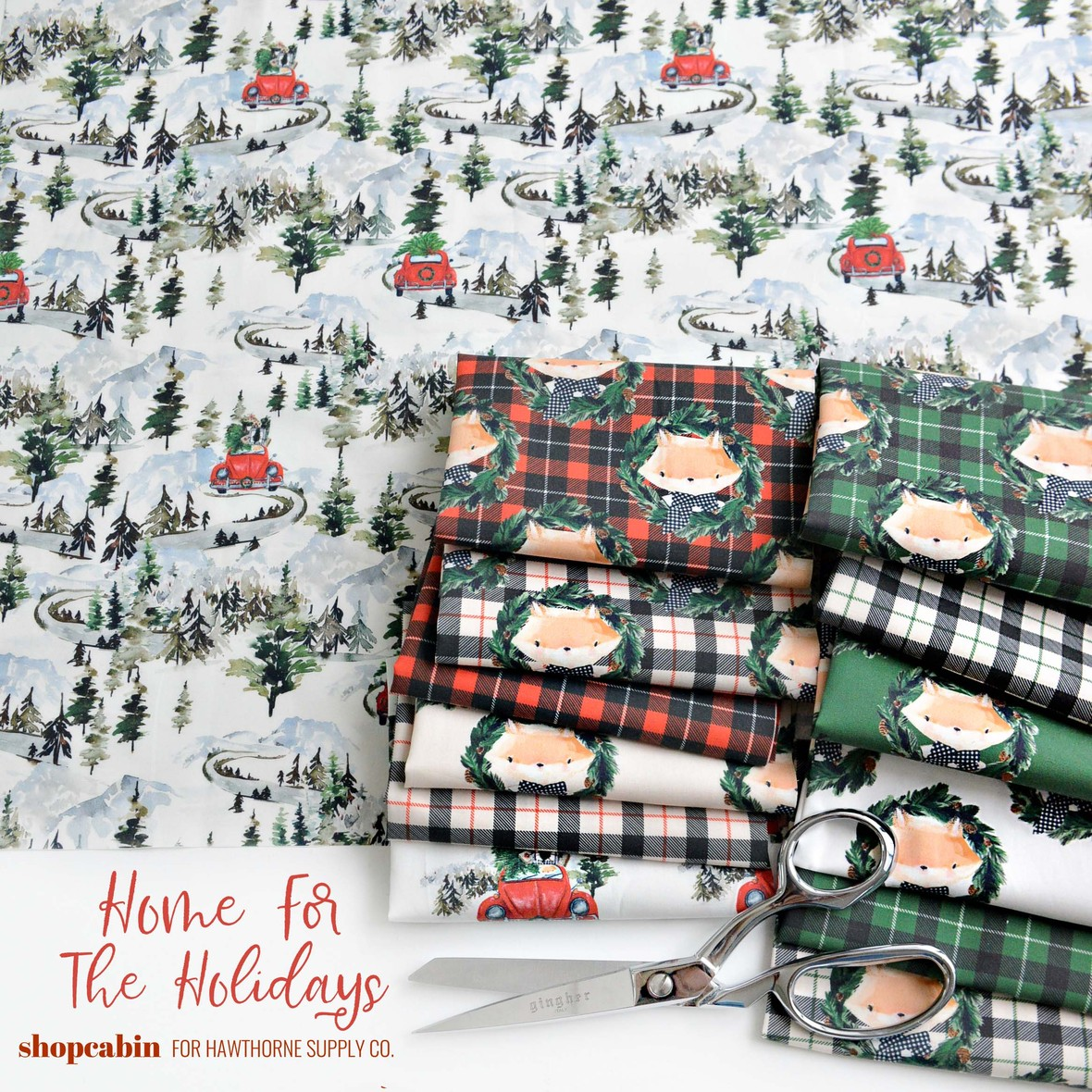 Home for the Holidsays fabric poster