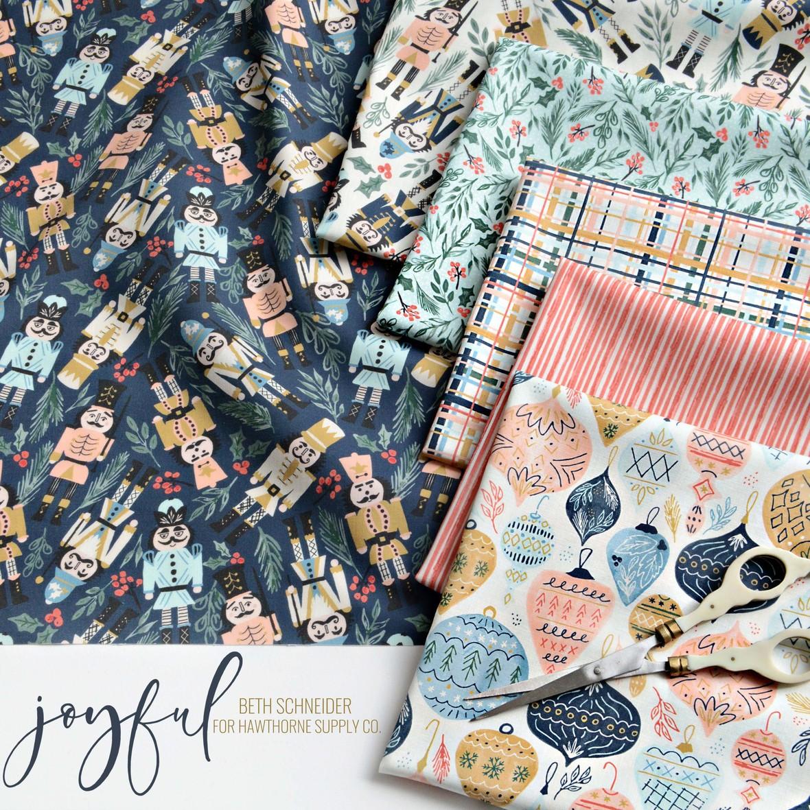 Joyful Fabric Poster Beth Schneider for Hawthorne Supply Co Christmas Fabric