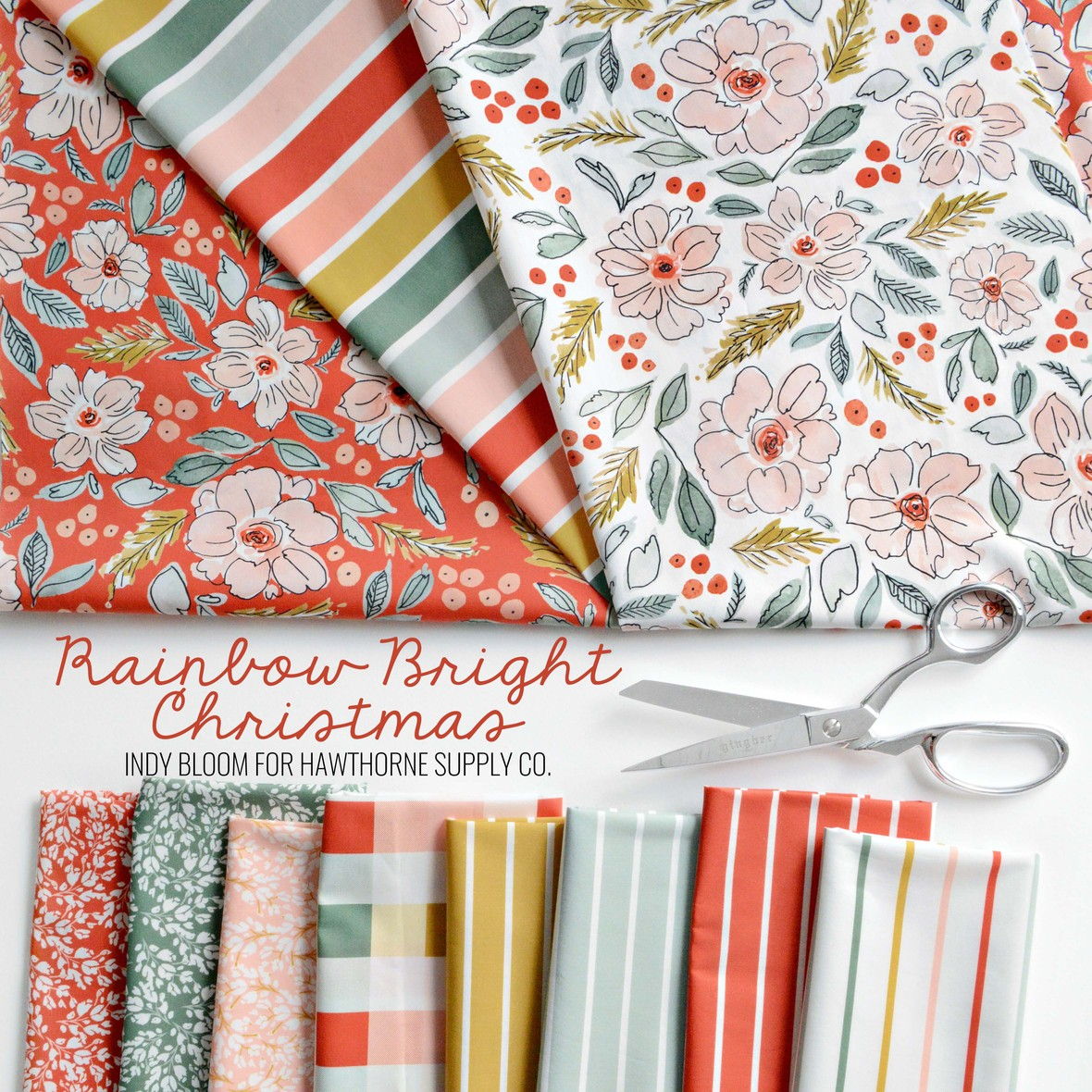 Rainbow Bright Christmas Indy Bloom fabric for Hawthorne Supply Co