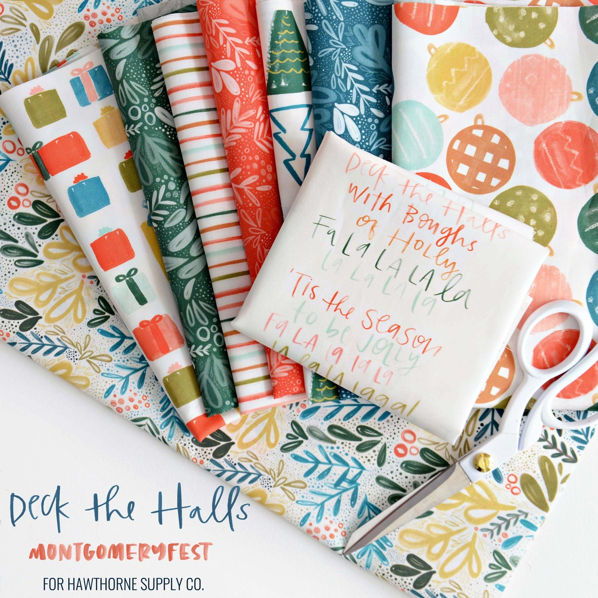 Deck the Halls Fabric Poster MontgomeryFest for Hawthorne Supply Co