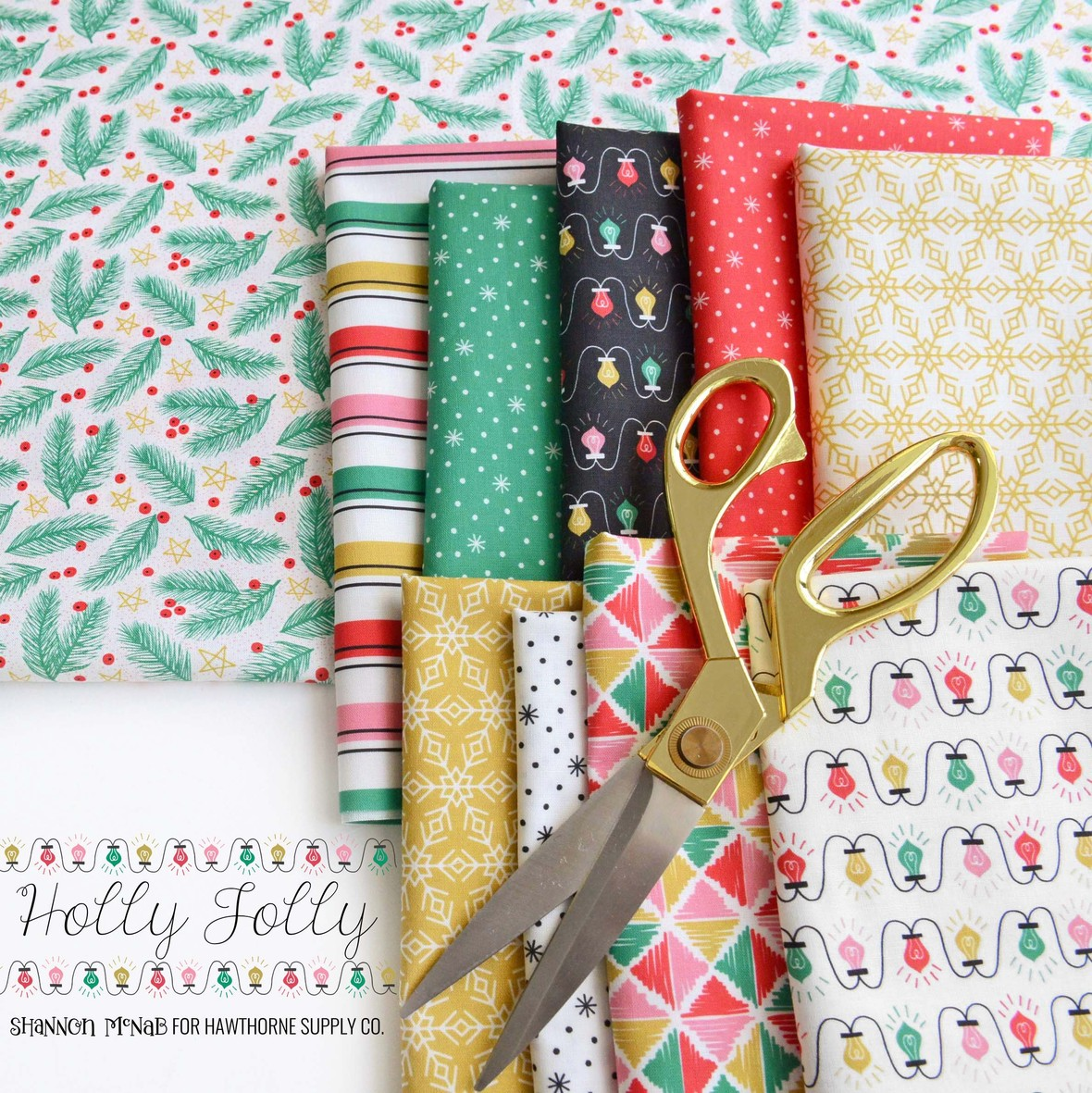 Chistmas Holly Jolly Fabric Poster Shannon McNaab for Hawthorne Supply Co