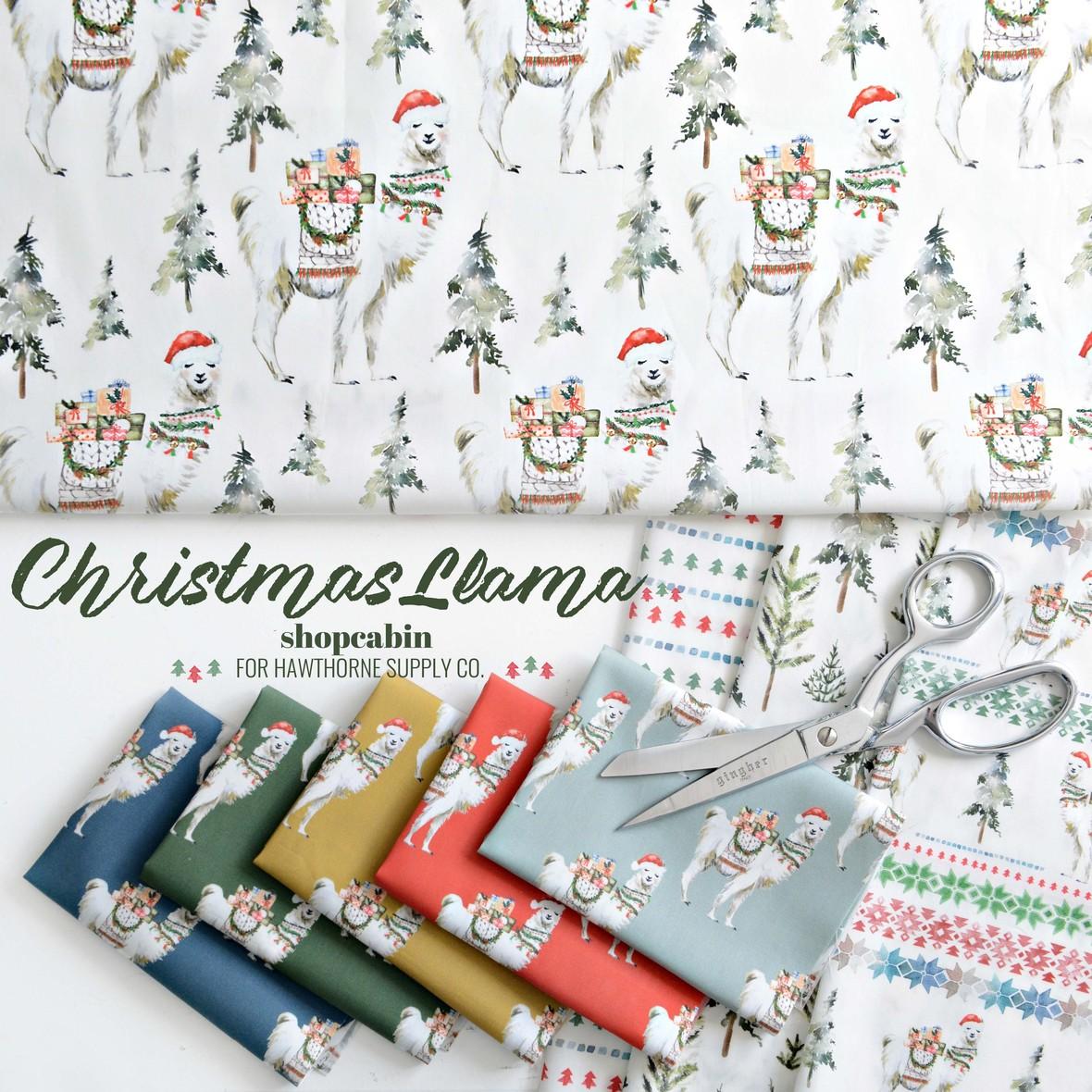 Christmas Llama Fabric Poster Shopcabin at Hawthorne Supply Co