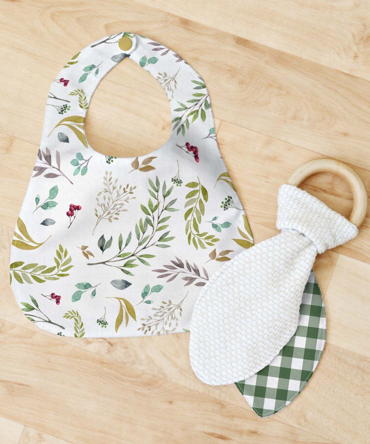 Bib and Teether Large Scale Foliage Green Gingham