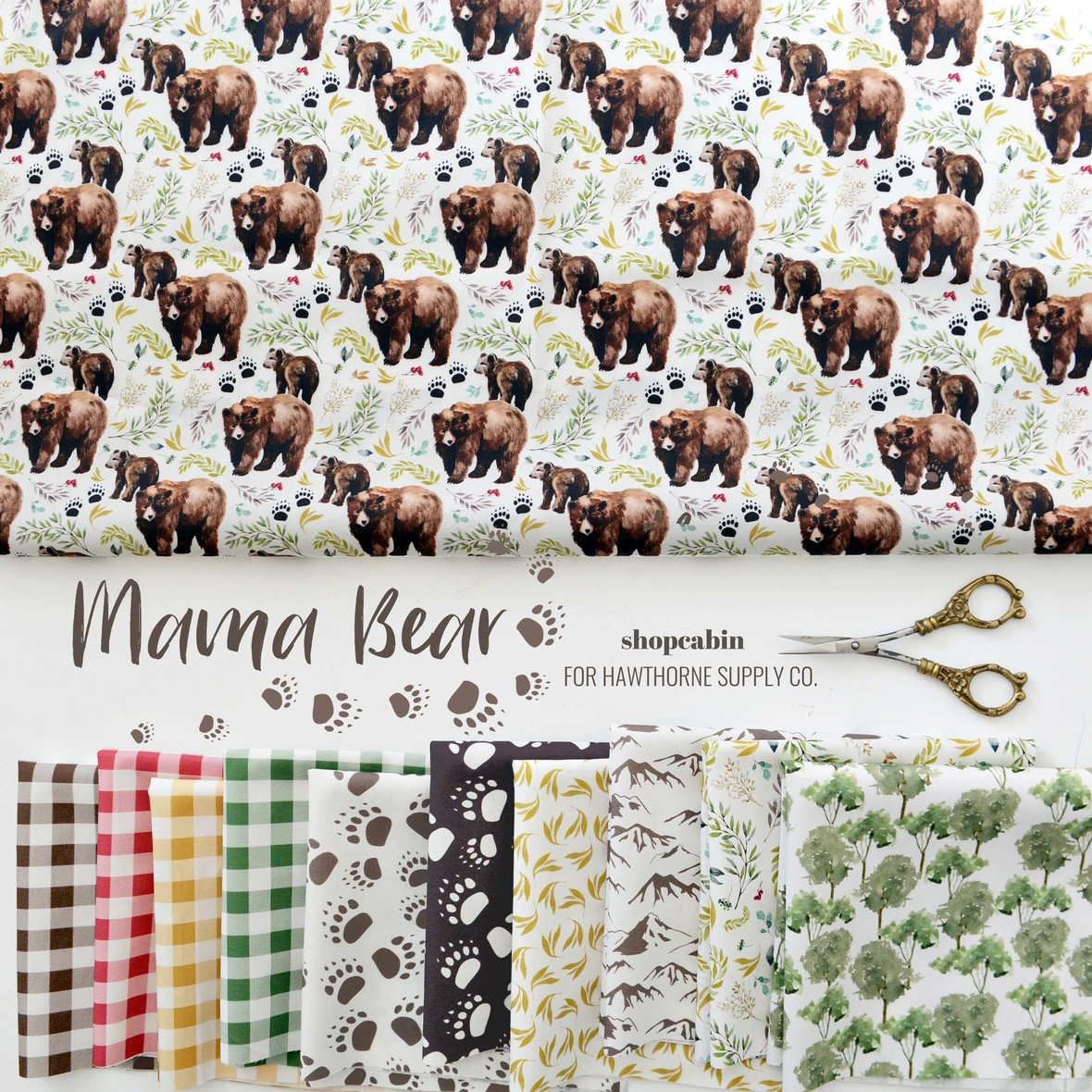 Mama Bear Fabric Shopcabin for Hawthorne Supply Co.