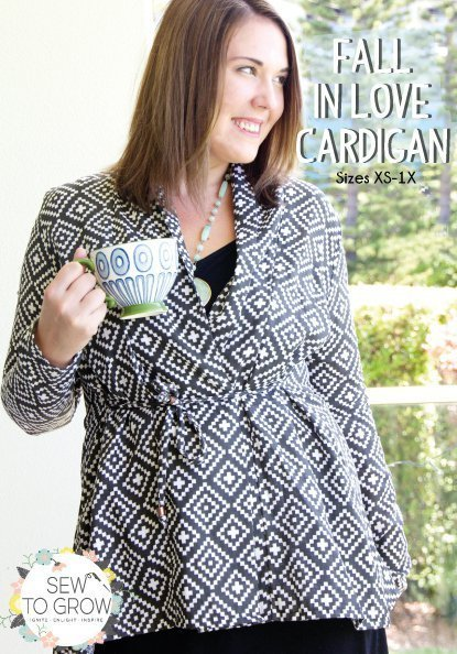 sew to grow  fall in love cardigan sewing pattern