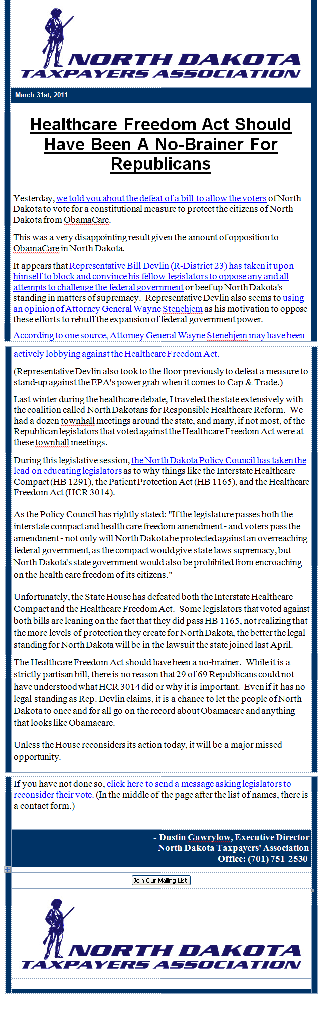 2011 Healthcare Freedom Email